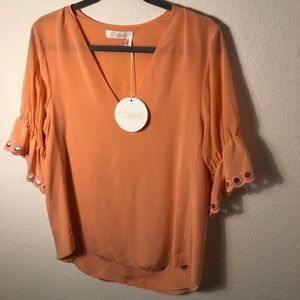 CHLOE Silk Blouse // Embroidery On Sleeve